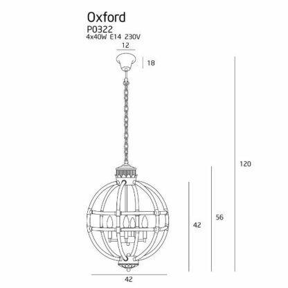 Oryginalna lampa wisząca Oxford - szklany klosz