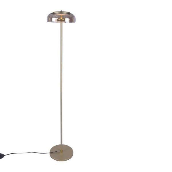 Złota lampa podłogowa Disco - szklany klosz