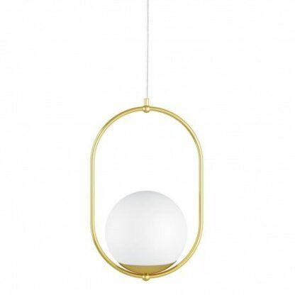 Lampa wisząca Koban B - szklana kula, mosiądz