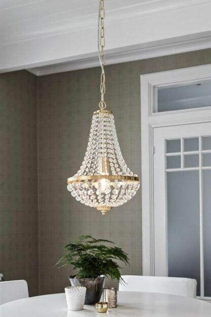 Klasyczna lampa wisząca Granso - złota, kryształki