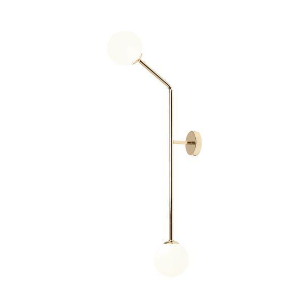 Kinkiet / lampa sufitowa Pure Vertical - złoty, 2 szklane klosze