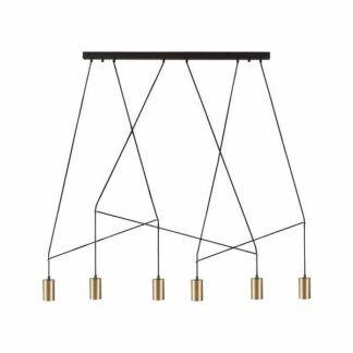 Długa lampa wisząca Imbria - 6 złotych kloszy