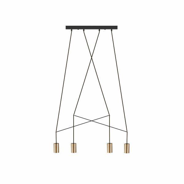 Podłużna lampa wisząca Imbria - 4 złote tuby