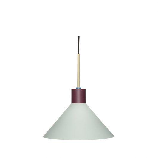 Miętowa lampa wisząca Tre Farver - stożkowy klosz