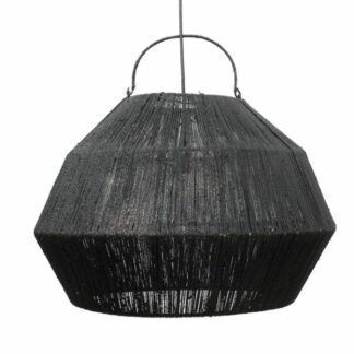 Duża lampa wisząca Lashing - czarna, trawa morska