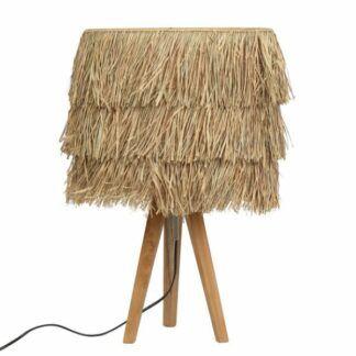 Lampa stołowa Raffia - drewniany trójnóg