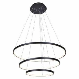 Czarna lampa wisząca Diego - 3 ringi