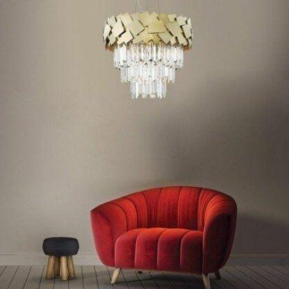 Efektowna lampa wisząca Quasar - złota, glamour