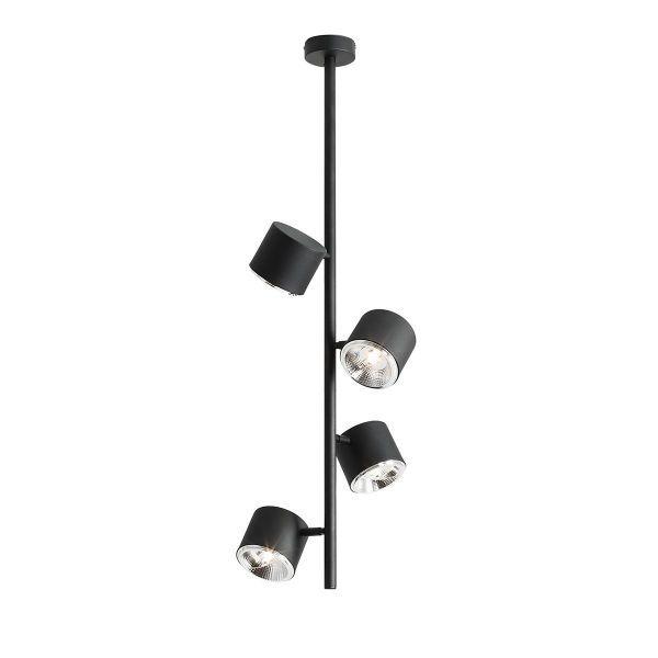 Czarna lampa sufitowa Bot 4 Vertical - regulowane klosze