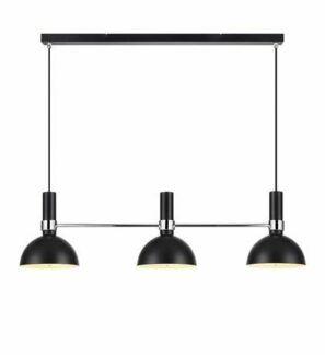 Czarna lampa wisząca Larry - 3 klosze, chrom