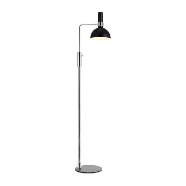 Lampa podłogowa Larry - srebrna podstawa, czarny klosz