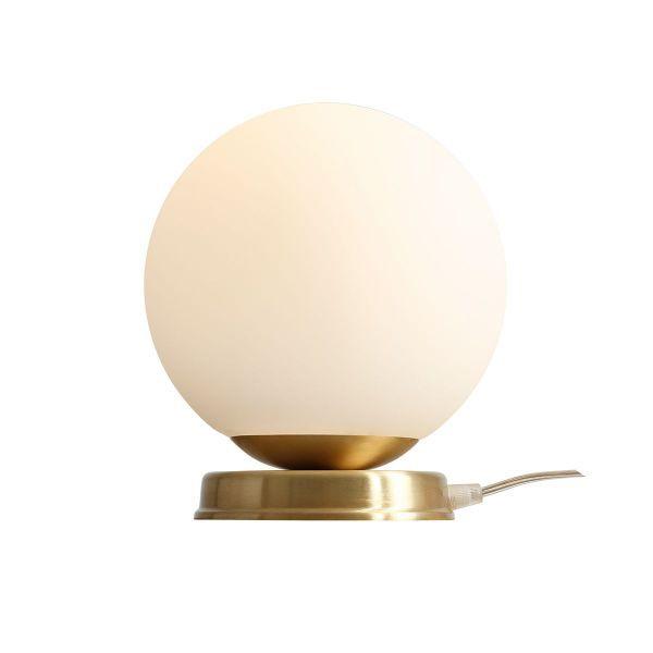 Lampa biurkowa Ball M - szklany klosz, mosiądz