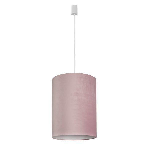 Różowa lampa wisząca Barrel  - aksamitny klosz