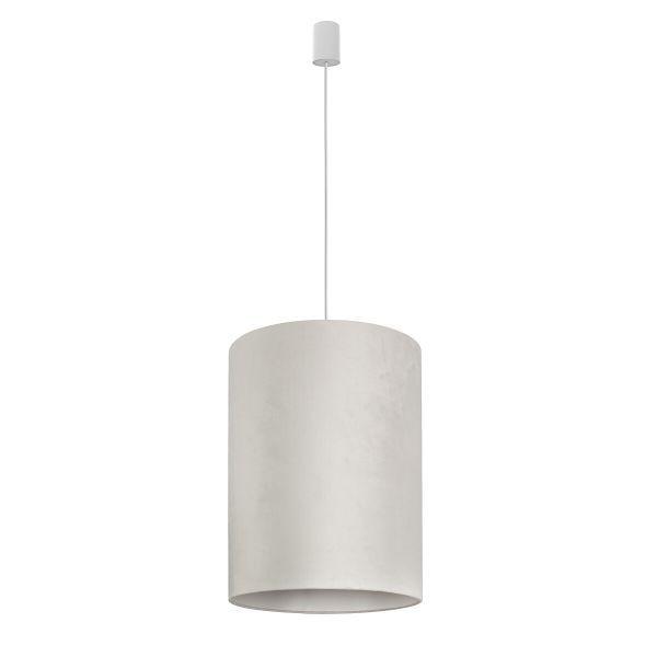 Aksamitna lampa wisząca Barrel - biała