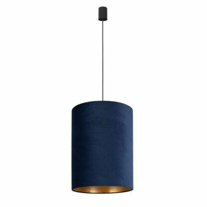 Elegancka lampa wisząca Barrel - granatowa, aksamit