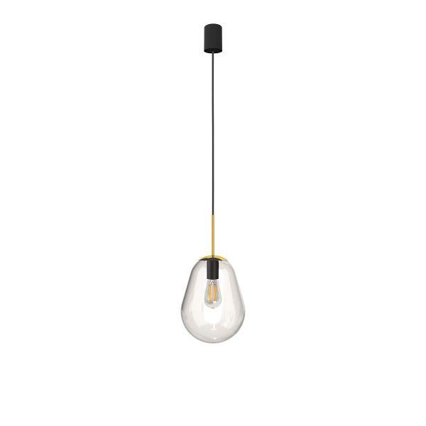 Szklana lampa wisząca Pear S - złote detale