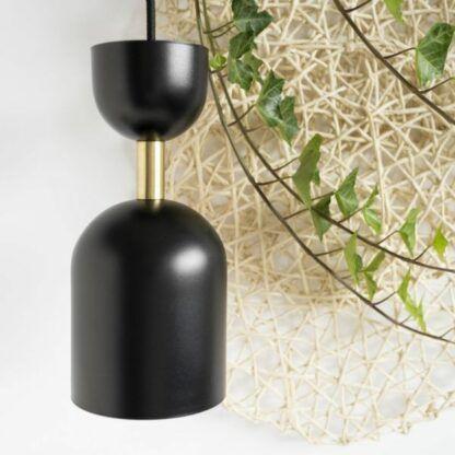 Elegancka lampa wisząca Supuru - czarny klosz, złota rurka