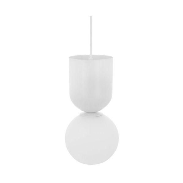 Biała lampa wisząca Luoti - nowoczesna, szklany klosz