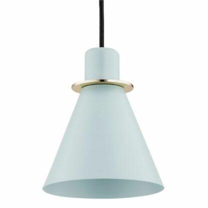 Stożkowa lampa wisząca Beverly - błękitna, złote detale