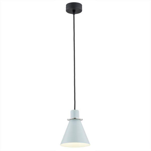 Lampa wisząca Beverly - błękitna, srebrne detale