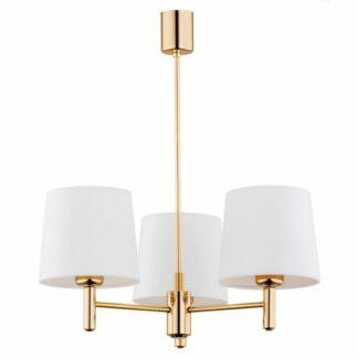 Złoty żyrandol Ponte - 3punktowy, białe abażury