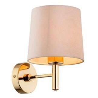 Złoty kinkiet Ponte - beżowy abażur welurowy