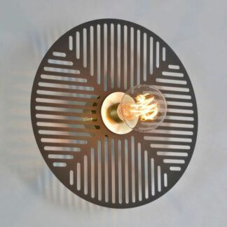Czarny kinkiet Waterlily - dysk, złote wykończenia