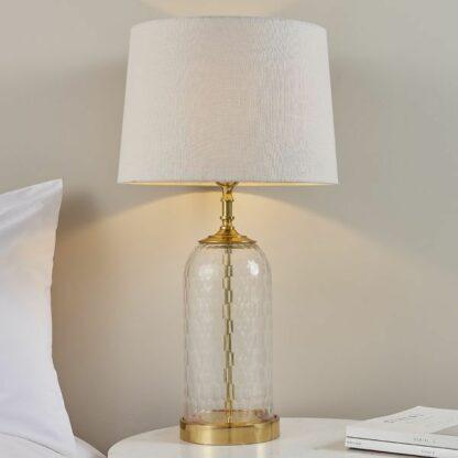 Szklana lampa stołowa Wistow - klasyczna, z naturalnym abażurem