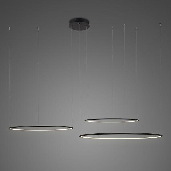 Duża lampa wisząca Shape No.3 -  Φ100, czarne ringi, 3000K