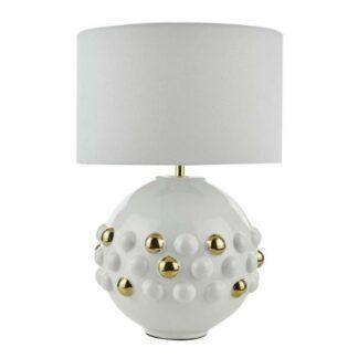 Oryginalna lampa stołowa Sphere - ceramika, złote zdobienia