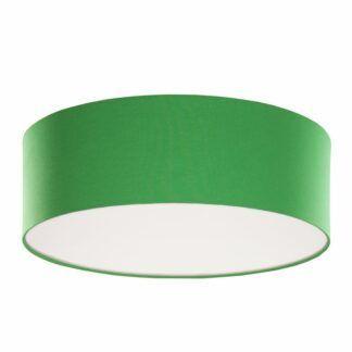 Okrągły plafon Made By Colors - zielony, bawełniany abażur