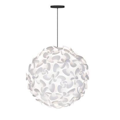duża lampa wisząca z białym kloszem, motyw florystyczny