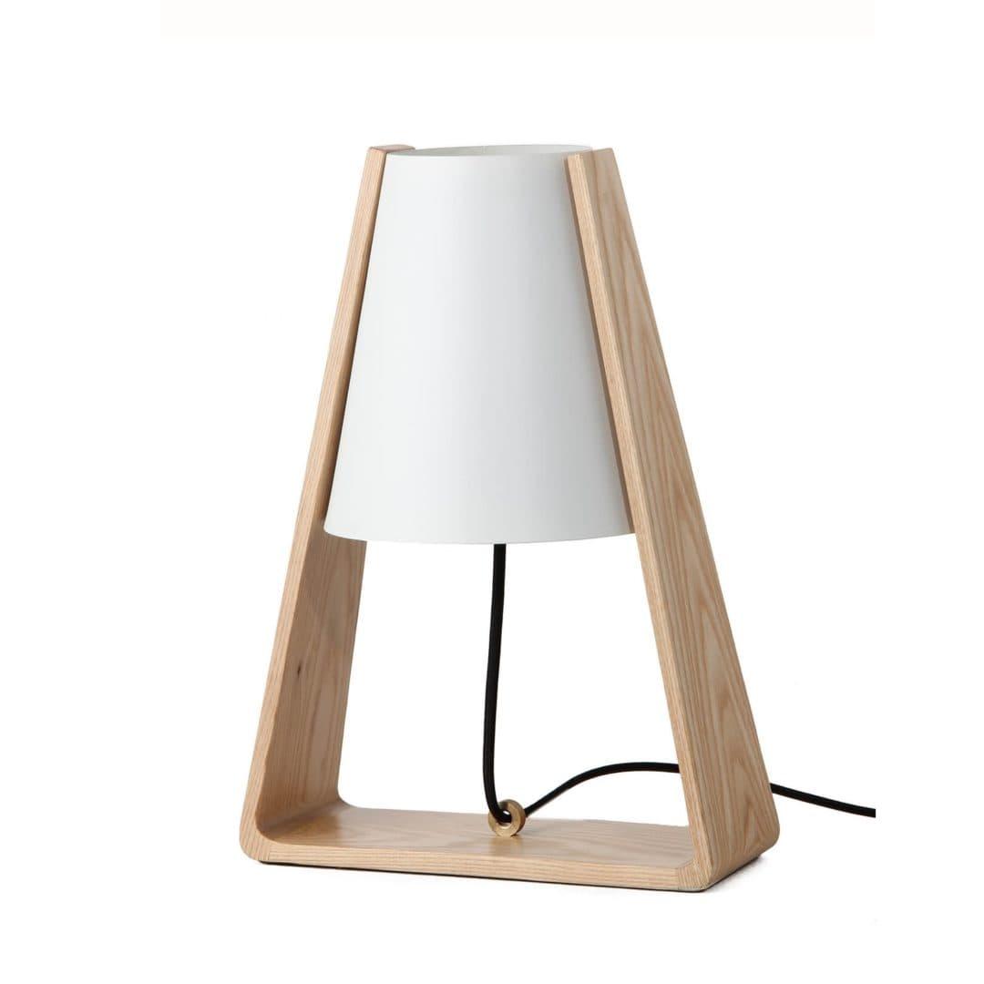 Designerska lampa stołowa Bend - Frandsen Lighting - biały klosz, drewniana