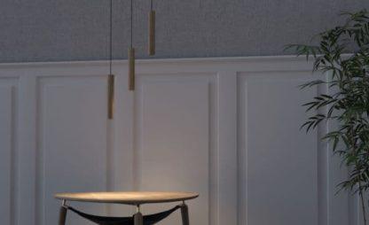 drewniana lampa wisząca w skandynawskim stylu