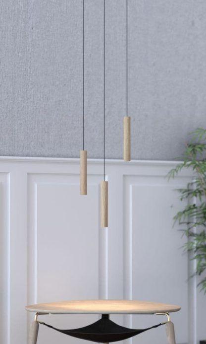 lampa wisząca z podłużnym kloszem z drewna - aranżacja