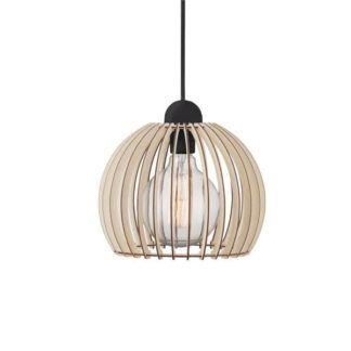 nowoczesna lampa wisząca, drewniany klosz