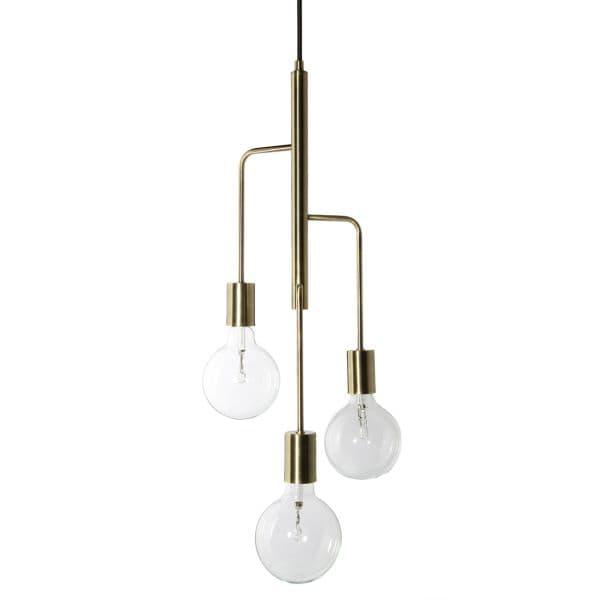 lampa wisząca mosiądz, styl industrialny - aranżacja