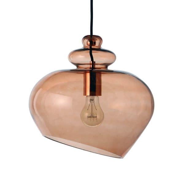 lampa wisząca szklana, brązowa - aranżacja