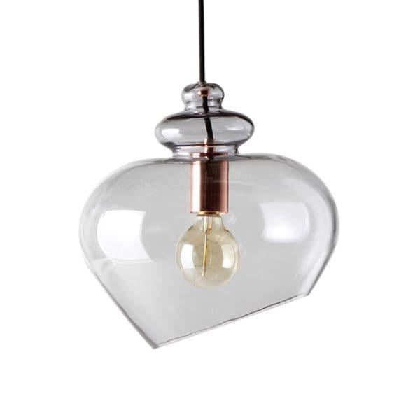 szklane lampy dymione, styl industrialny