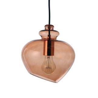 Szklana lampa wisząca Grace - Frandsen Lighting - barwiona na brązowo