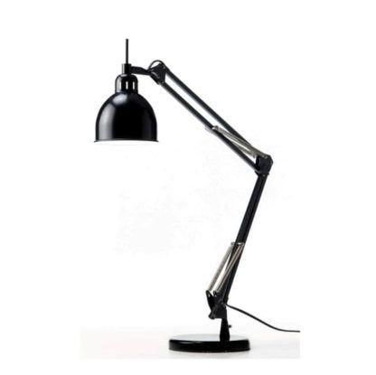 czarna, metalowa lampa biurkowa z regulowanym ramieniem