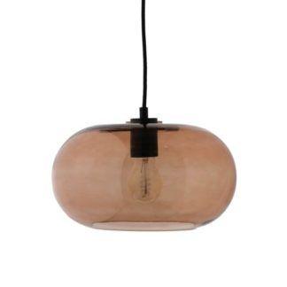 Nowoczesna lampa wisząca Kobe - szklany, brązowy klosz