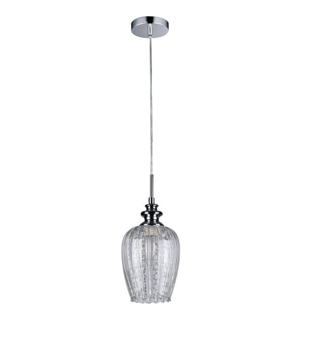 dwie lampy wiszące srebrne ze szkłem i kryształem w kloszu - aranżacja