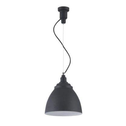 czarna lampa wisząca z kloszem metalowym