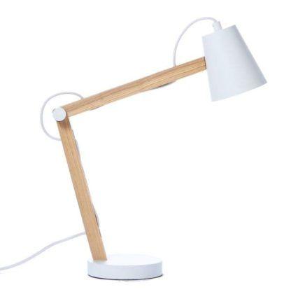 skandynawska lampa stołowa biała, drewniana