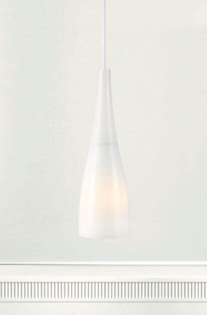 szklana lampa wisząca, smukły klosz