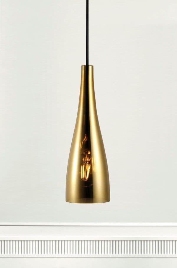 złota lampa wisząca, szklana