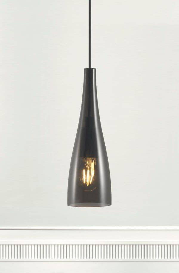 szklana lampa wisząca, szara