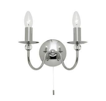 Klasyczny kinkiet na dwie żarówki - Parkstone - Endon Lighting - srebrny