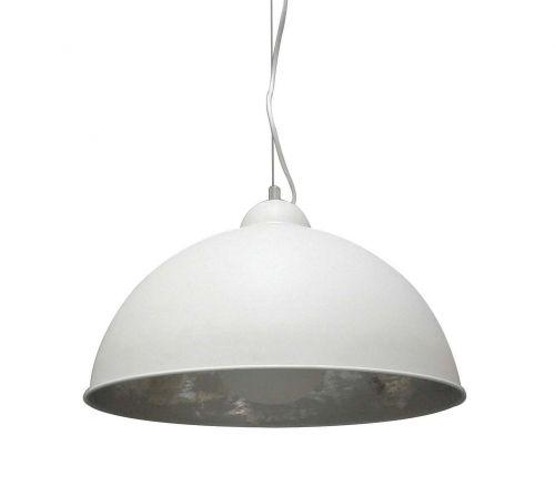 biała lampa wisząca klosz półkula, srebrny środek klosza - aranżacja